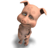 Cute and funny cartoon pig Stock Images