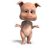 Cute and funny cartoon pig Stock Photos