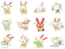 Cute and funny cartoon rabbit character mascot. With costume in various action and expression icon collection set in Japanese manga style, create by vector Stock Photo