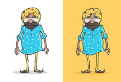 Cute and Funny cartoon Sardar g standing. Royalty Free Stock Photography