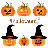 Cute funny cartoon set of halloween pumpkins holiday illustration Royalty Free Stock Photos