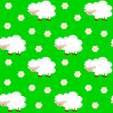 Cute funny cartoon sheep in the meadow seamless pattern Royalty Free Stock Photography