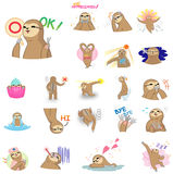 Cute and funny cartoon sloth character mascot in various action Stock Photos
