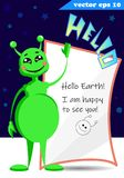 Green funny cartoon style alien with sturry sky royalty free stock images