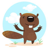 Cute funny cartoon vector beaver waving with his hands. Fluffy beaver character with big teeth presenting Stock Photography