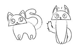 Cute funny cats cartoon vector lineart Royalty Free Stock Photos