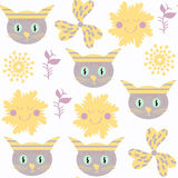 Cute funny cats seamless pattern. It is located in swatch menu, Royalty Free Stock Photo