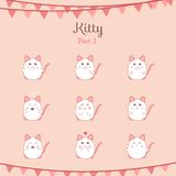 Cute funny cats set various emotions Stock Image