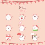 Cute funny cats set various emotions Royalty Free Stock Photos