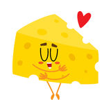 Cute and funny cheese chunk character showing love, hugging itself. Cartoon vector illustration isolated on white background. Funny cheese piece character Royalty Free Stock Images
