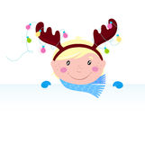 Cute funny Child in reindeer costume with banner. Christmas boy in reindeer costume. Vector Illustration Royalty Free Stock Images