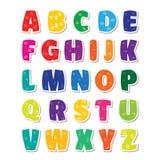 Cute funny childish alphabet. Vector font illustration Stock Images