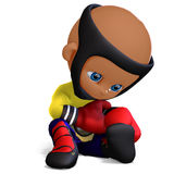 Cute and funny childish cartoon boxer Royalty Free Stock Image