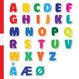 Cute funny childish Danish alphabet. Vector font illustration Stock Image