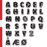 Cute funny childish Danish alphabet. Vector font illustration Stock Photo