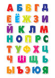 Cute funny childish russian alphabet. Vector font illustration.  Royalty Free Stock Photo
