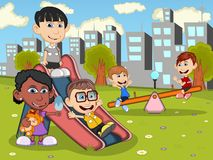 Cute and funny children playing in the park cartoon Stock Photography