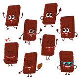 Cute and funny chocolate bar characters showing various emotions Stock Photography