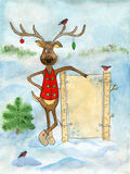 Cute funny Christmas deer and a message board in the forest. Stock Photos