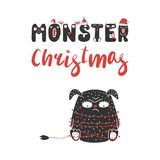 Cute and funny Christmas monster royalty free illustration