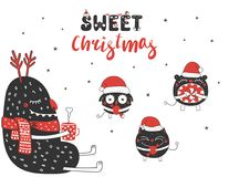 Cute and funny Christmas monsters Stock Photo
