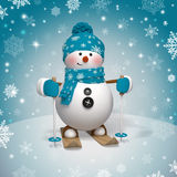 Cute funny Christmas skiing snowman vector illustration