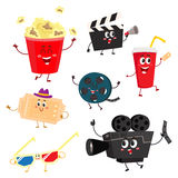 Cute and funny cinema, movie characters, symbols, icons Royalty Free Stock Photo