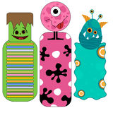 Cute and funny colorful halloween tags or bookmarks with monsters Stock Image