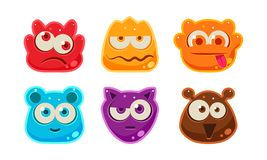 Cute funny colorful jelly animal faces set, user interface assets for mobile apps or video games vector Illustration on vector illustration