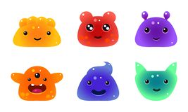 Cute funny colorful jelly animals and monsters faces set, user interface assets for mobile apps or video games vector stock illustration