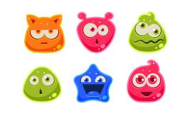 Cute funny colorful jelly characters set, user interface assets for mobile apps or video games vector Illustration on a royalty free illustration