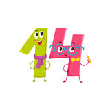 Cute and funny colorful 14 number characters, birthday greetings Royalty Free Stock Photography