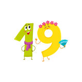 Cute and funny colorful 19 number characters, birthday greetings Royalty Free Stock Images