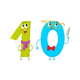 Cute and funny colorful 10 number characters, birthday greetings Royalty Free Stock Photo