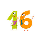 Cute and funny colorful 16 number characters, birthday greetings. Cute and funny colorful 16 number characters, cartoon vector illustration isolated on white Stock Photo