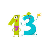 Cute and funny colorful 13 number characters, birthday greetings Stock Image