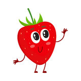 Cute and funny comic style garden strawberry character looking up Stock Photos