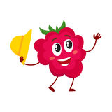Cute and funny comic style raspberry character holding straw hat Royalty Free Stock Photo
