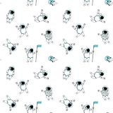 Funny astronaut spaceman characters exploring outer space seamless background pattern Stock Photography