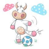 Cute funny cow play soccer, football. royalty free illustration