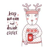 Cute funny deer in a knitted headband and sweater. Hand drawn vector illustration of a cute funny deer in a knitted headband and sweater, holding a mug, text Royalty Free Stock Photos