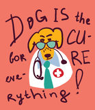 Cute funny dog doctor card and sign. Stock Image
