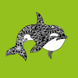 Cute funny doodles pattern with whale. underwater sea life Stock Photography