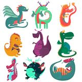 Cute funny dragon characters set, cchildish cartoon style fairy dragons vector Illustrations Royalty Free Stock Photography
