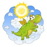 Cute funny dragon flying in the sunny sky royalty free illustration