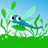Cute and funny dragonfly in the meadow- vector illustration, eps vector illustration