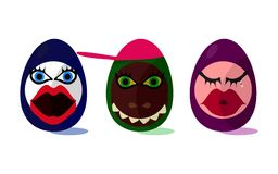 Cute funny Easter eggs Royalty Free Stock Image