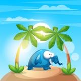 Cute, funny elephant - cartoon charater illustration. Vector eps 10 Royalty Free Stock Photo