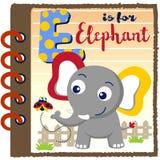 Cute funny elephant cartoon. Elephant and ladybug on paper, learn to read, vector cartoon illustration. EPS 10 Stock Photos