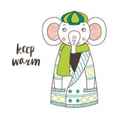 Cute funny elephant in a knitted cardigan and cap stock illustration